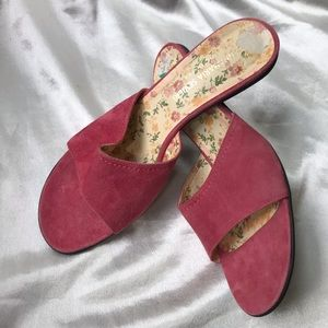 Shoes - New Annamaria Sevieri Pink Suede Heels Open Toe